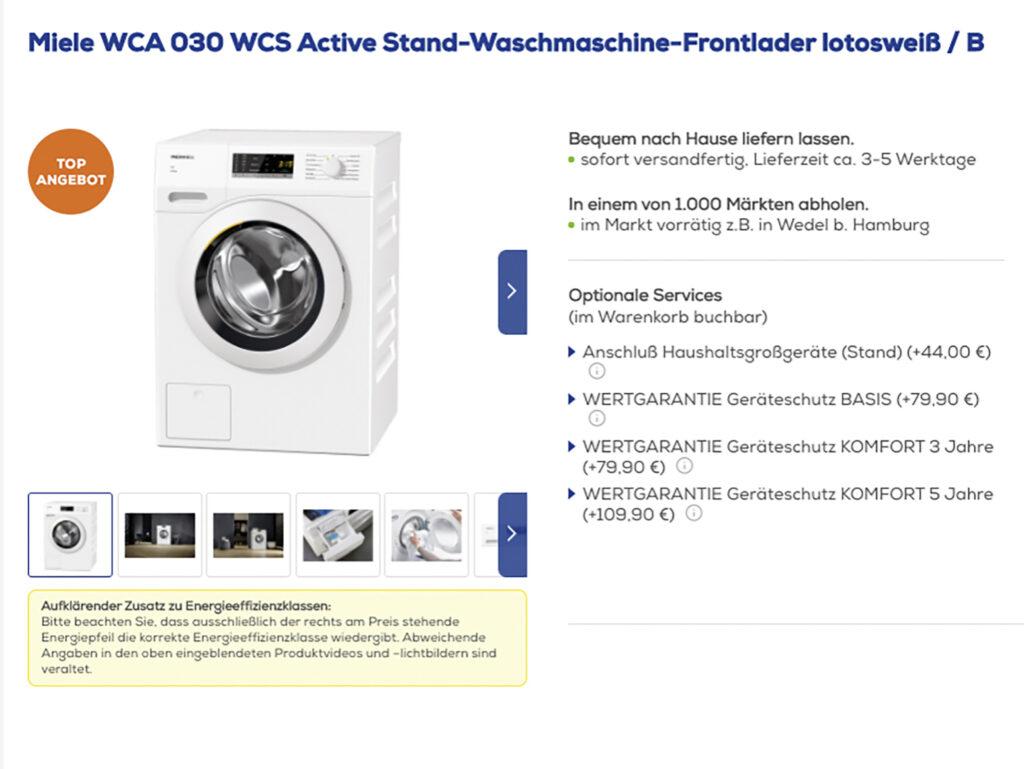 Euronics mit Zusatzleistungen bei Lieferung von Waschmaschine