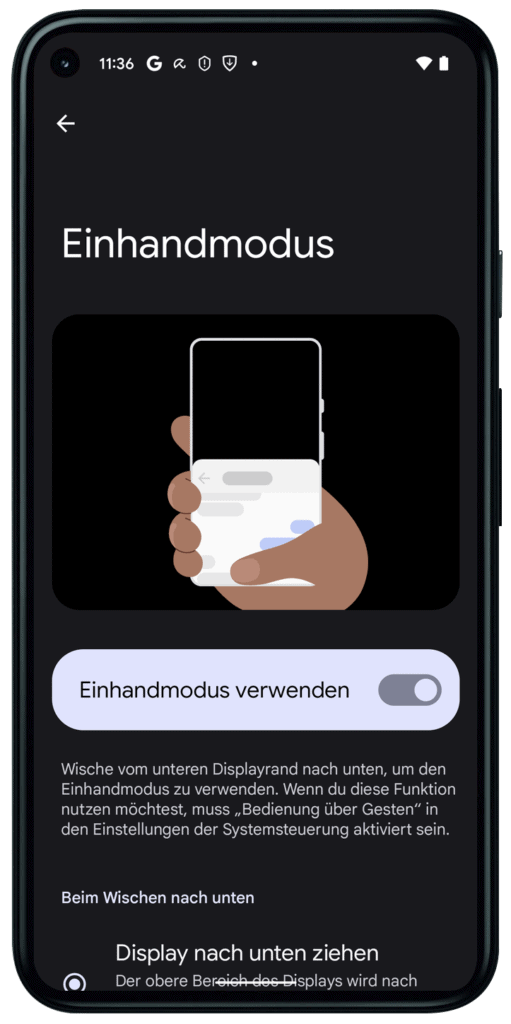 Einhandmodus Android