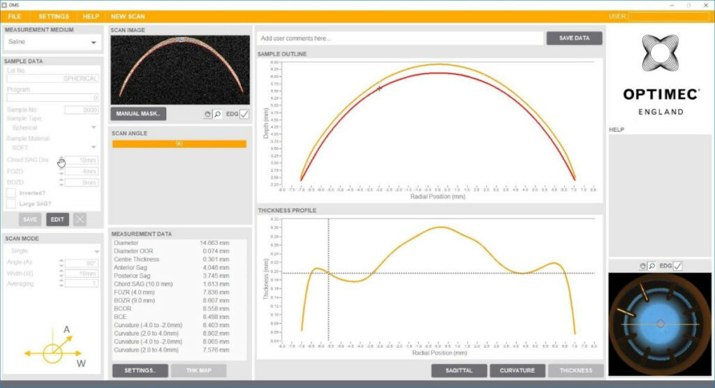 Drei verschiedene Kurvendiagramme mit Messwerten und Einstellungsoptionen an den Seiten