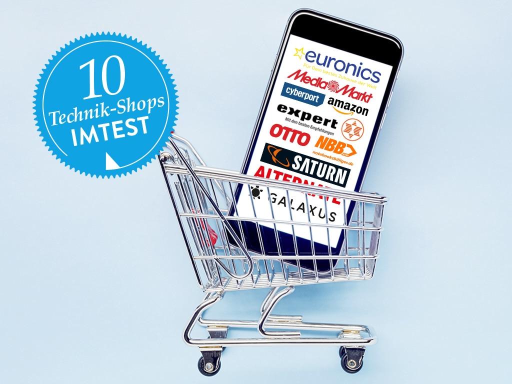 Smartphone mit Shop-Logos im Display, steht in deinem EInkaufswagen.