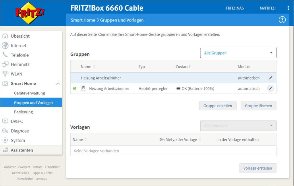 Screenshot von Fritzbox-Steuerung