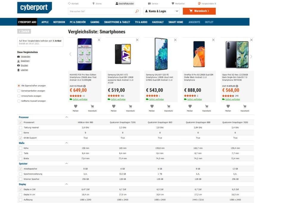Vergleichstabelle bei Cyberport mit Smartphones