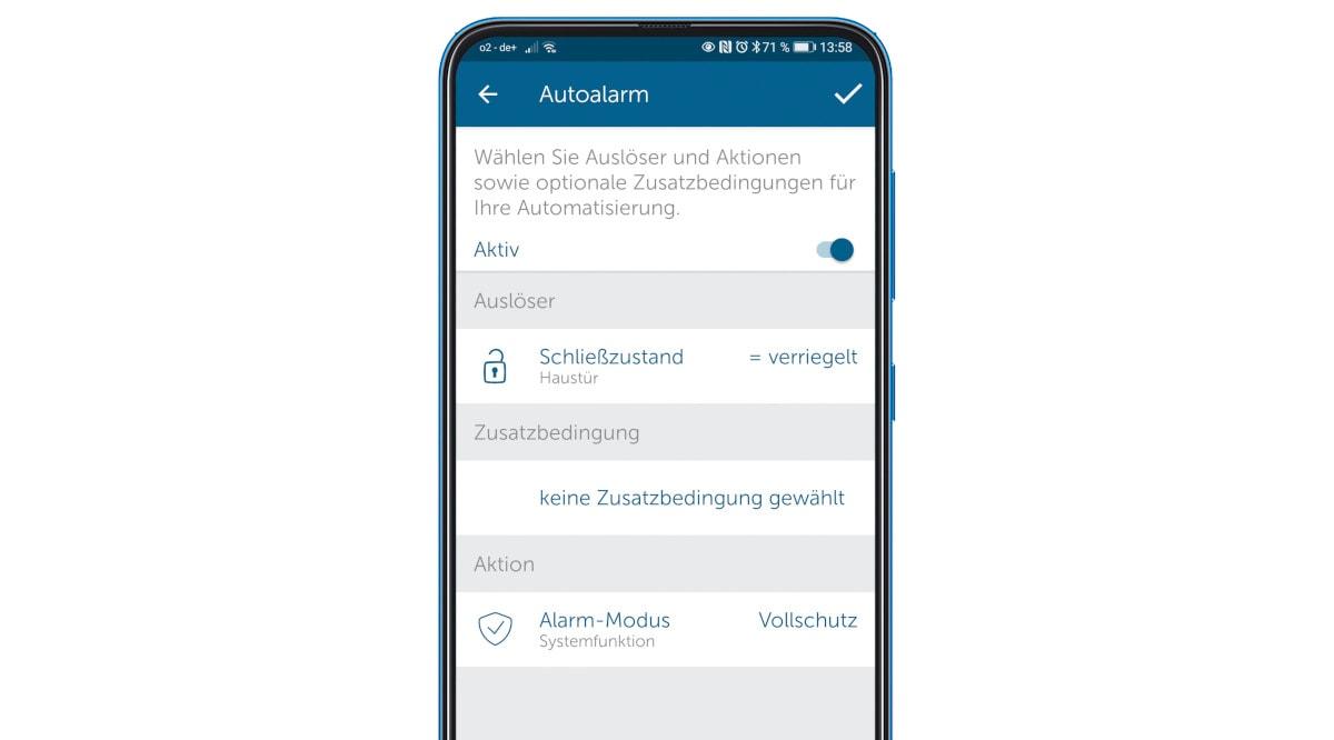 Handy mit App zur Steuerung von Alarmanlage und Türschloss
