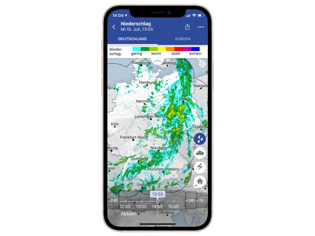 Eine Wetterkarte auf einem Smartphone
