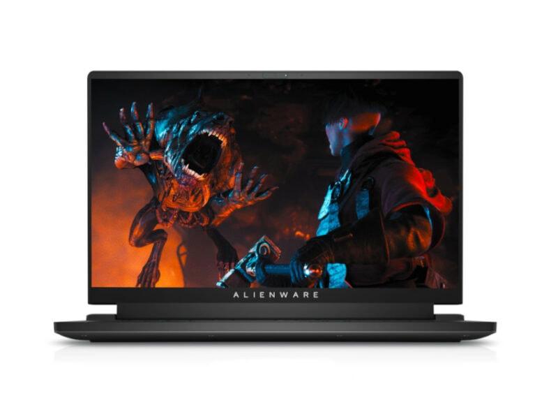Alienware Notebook aufgeklappt in Schwarz mit Bild von Spiel auf Bildschirm vor weißem Hintergrund