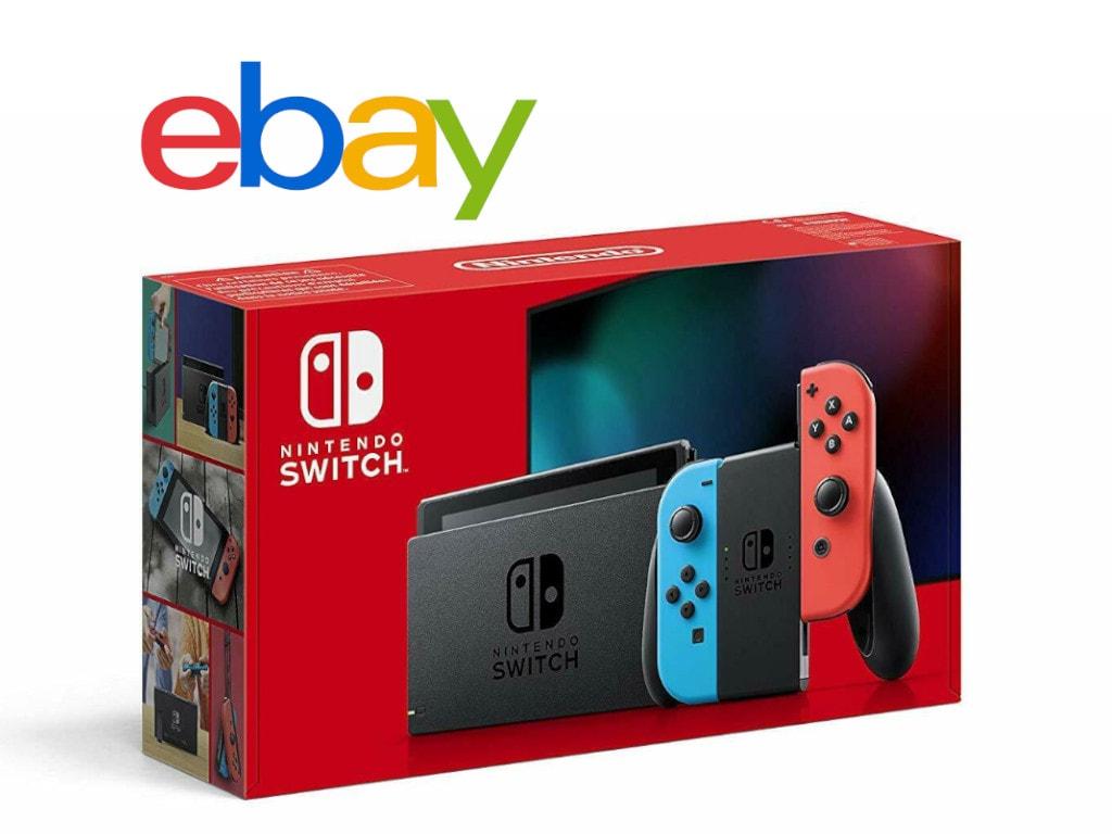 Nintendo Switch im Karton schräg von vorne auf weißem Hintergrund mit eBay-Schriftzug darüber
