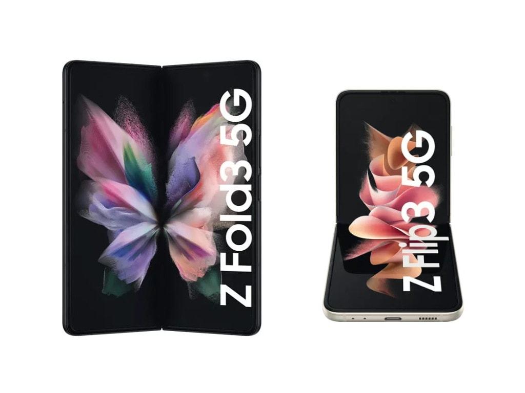 Das aufgeklappte Galaxy Fold3 neben dem im 90-Grad-Winkel aufgeklapptem Galaxy Flip3 auf weißem Hintergrund
