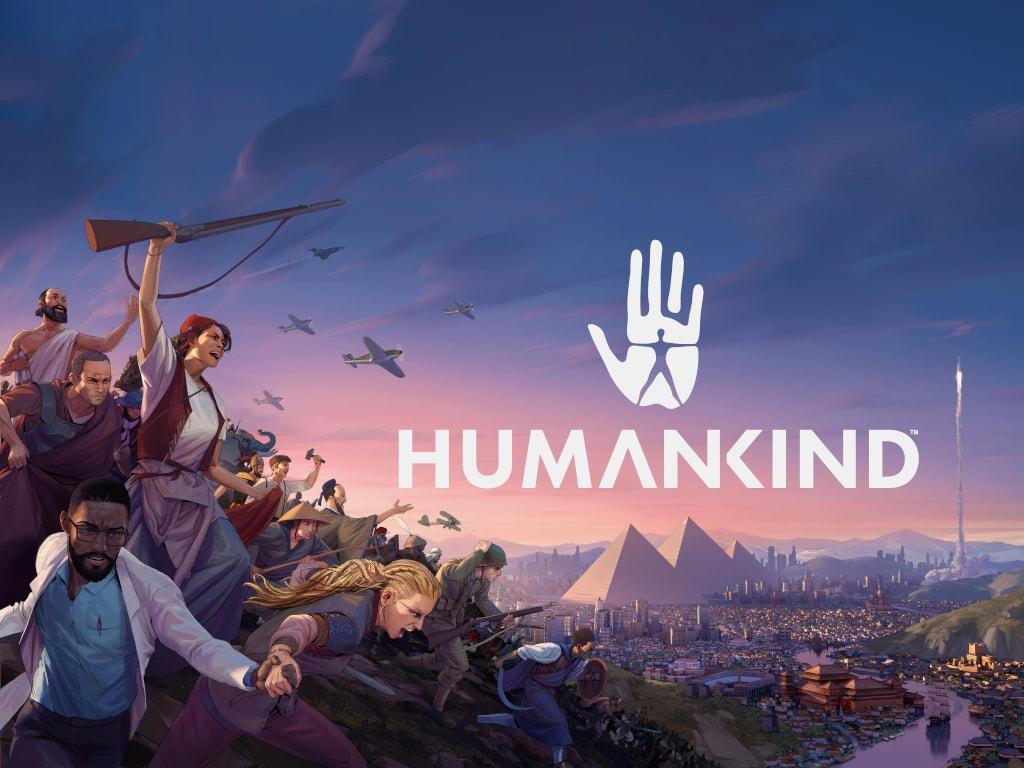 Schriftzug Humankind auf Bild mit vielen verschiedenen Spielfiguren