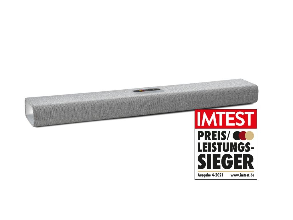 Mulitbeam 700 Soundbar in Grau schräg von vorne mit IMTEST-Preis-Leistungs-Sieger-Siegel auf weißem Hintergrund