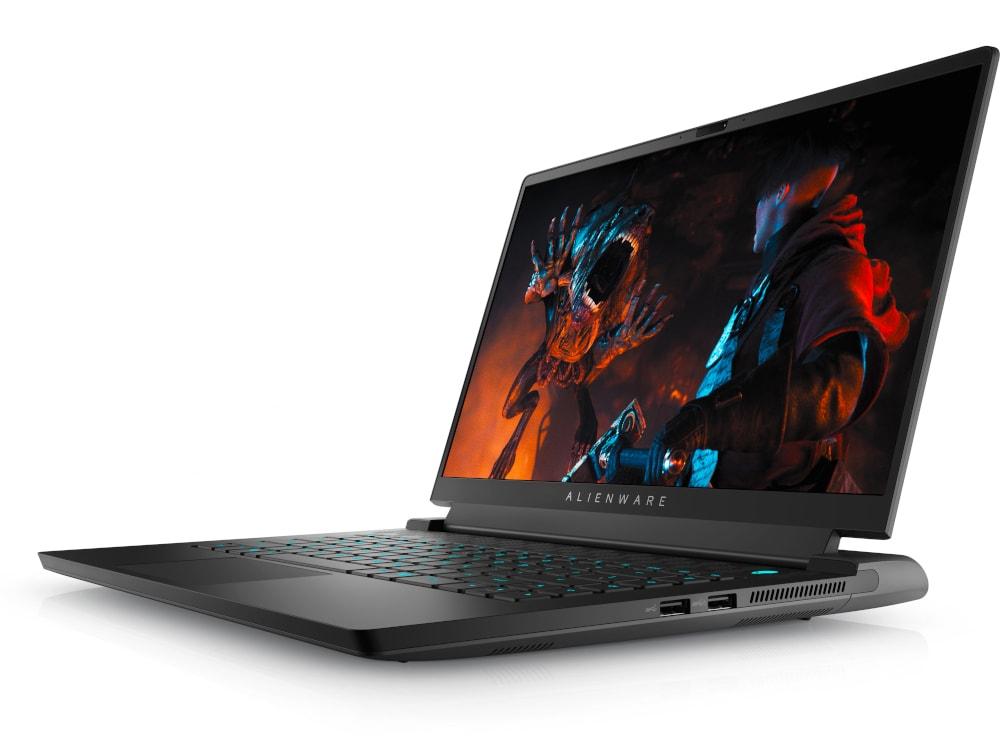 Notebook schräg von vorne mit aufgeklapptem Bildschirm und Bild von Spiel darauf, auf weißem Hintergrund