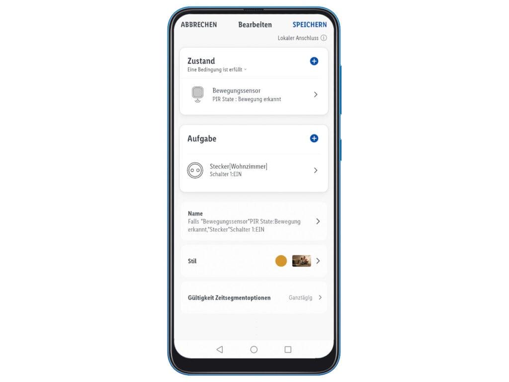 Handy mit App zur Steuerung von Beleuchtung
