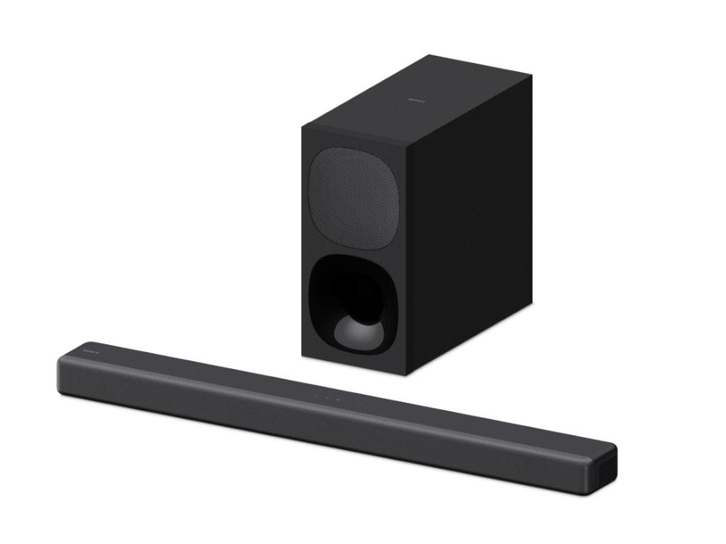 Sony-Soundbar mit Subwoofer dahinter auf weißem Hintergrund