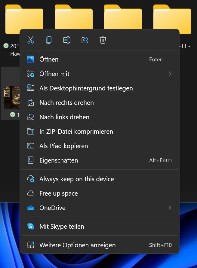 Screenshot Detail geöffnetes Kontextmenü im Hintergrund Ordner