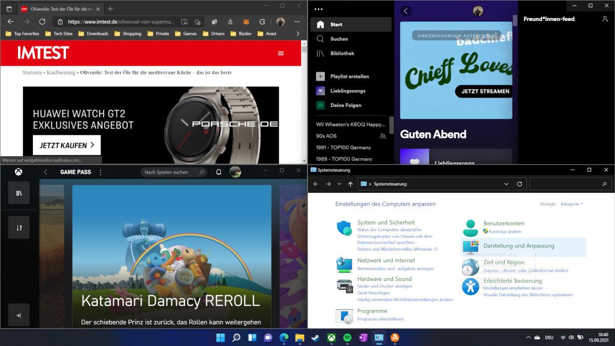 Screenshot vier Fenster ordentlich angeordnet
