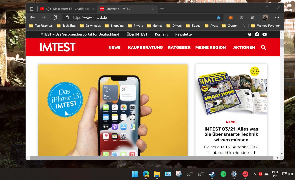 Screenshot geöffnetes Browser Fenster