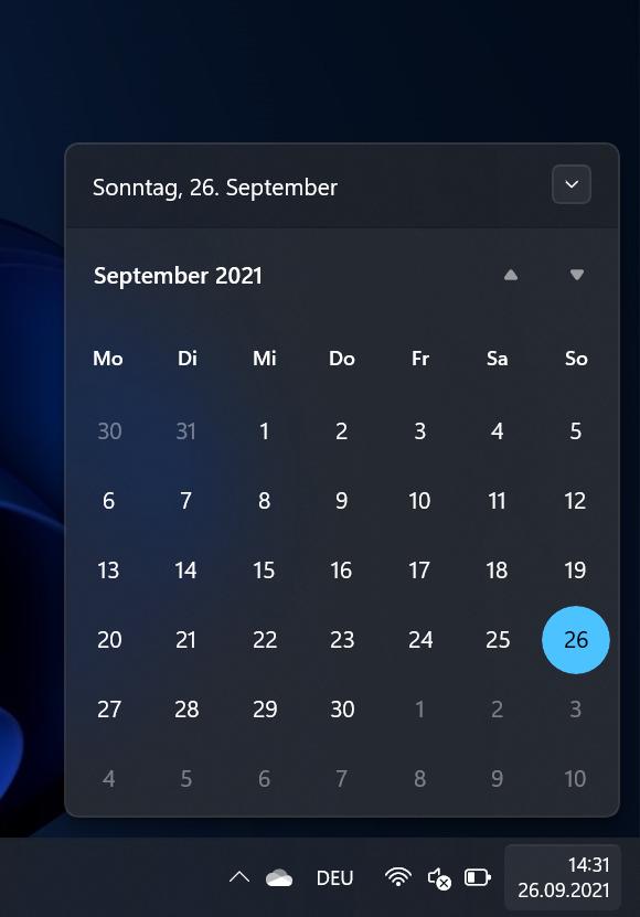 Screenshot Kalender dunkel