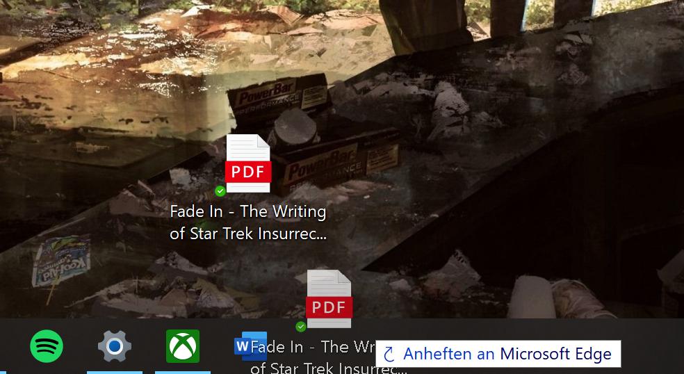 Screenshot PDF an Startleiste anheften