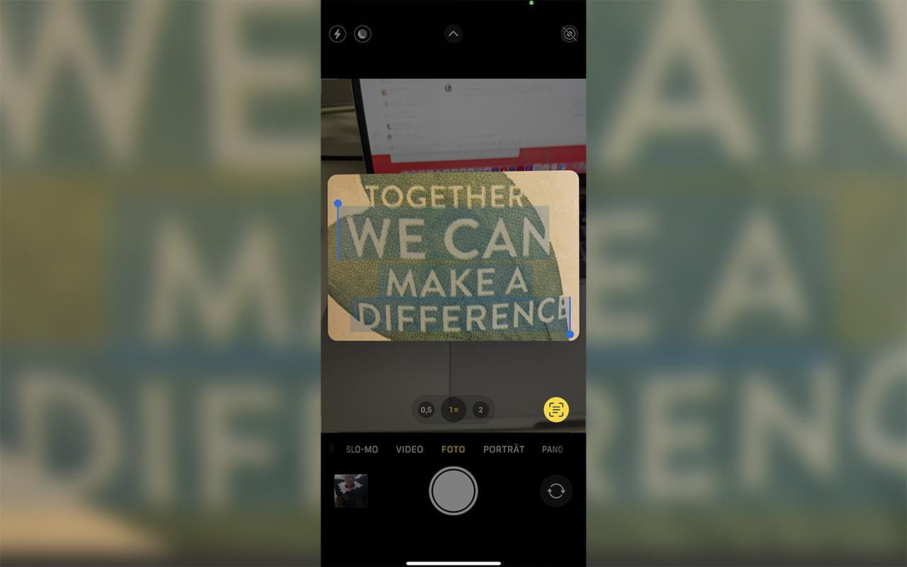 Texterkennung via Kameraapp beim iPhone 13