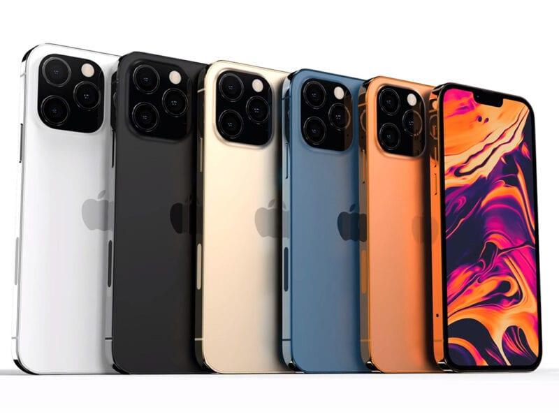 Sechs iPhone 12 nebeneinander.