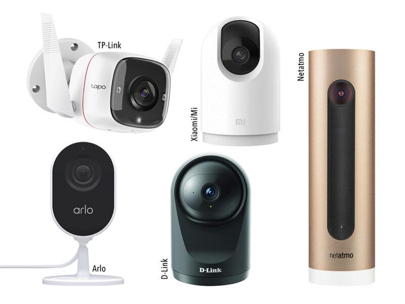 Fünf unterschiedliche Überwachungskameras kompakt angeordnet auf weißem Hintergrund