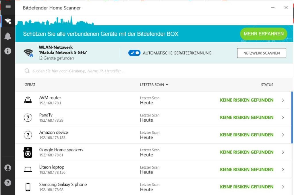 Screenshot Bitdefender scannt Netzwerke