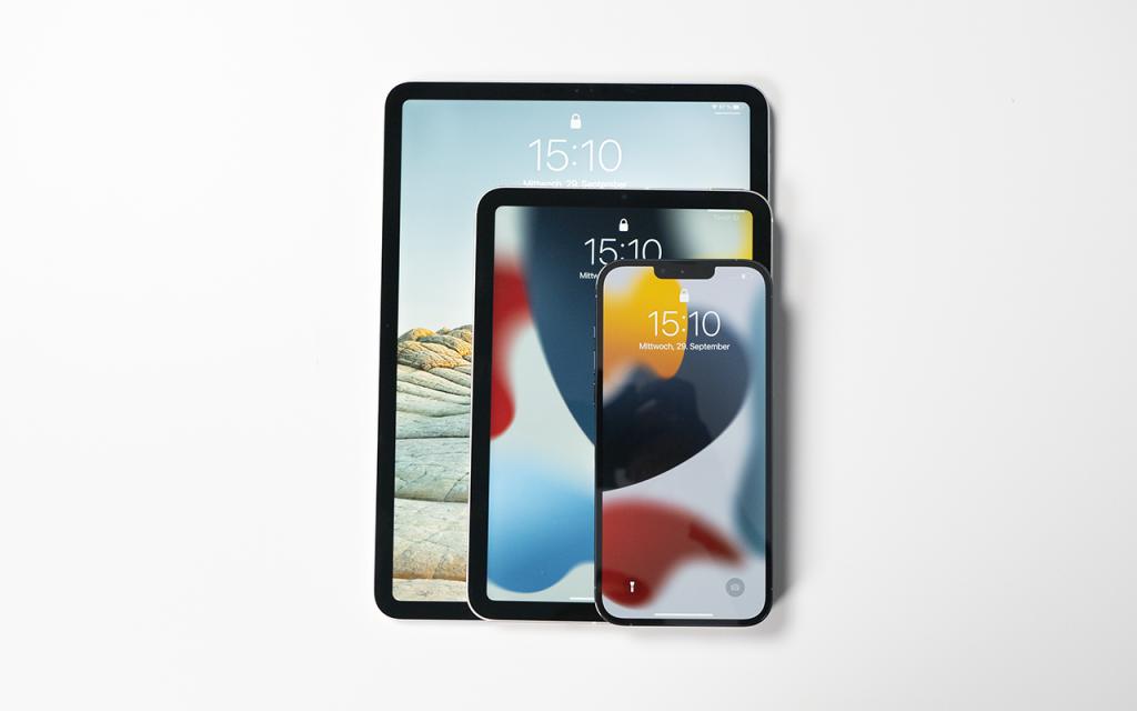 iPad mini 2021 iPad mini, iPad Pro und iPhone 13 Pro Max im Vergleich übereinander
