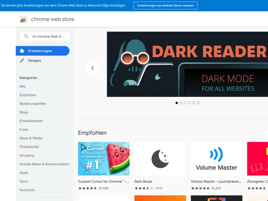 Chrome Web Store Startseite