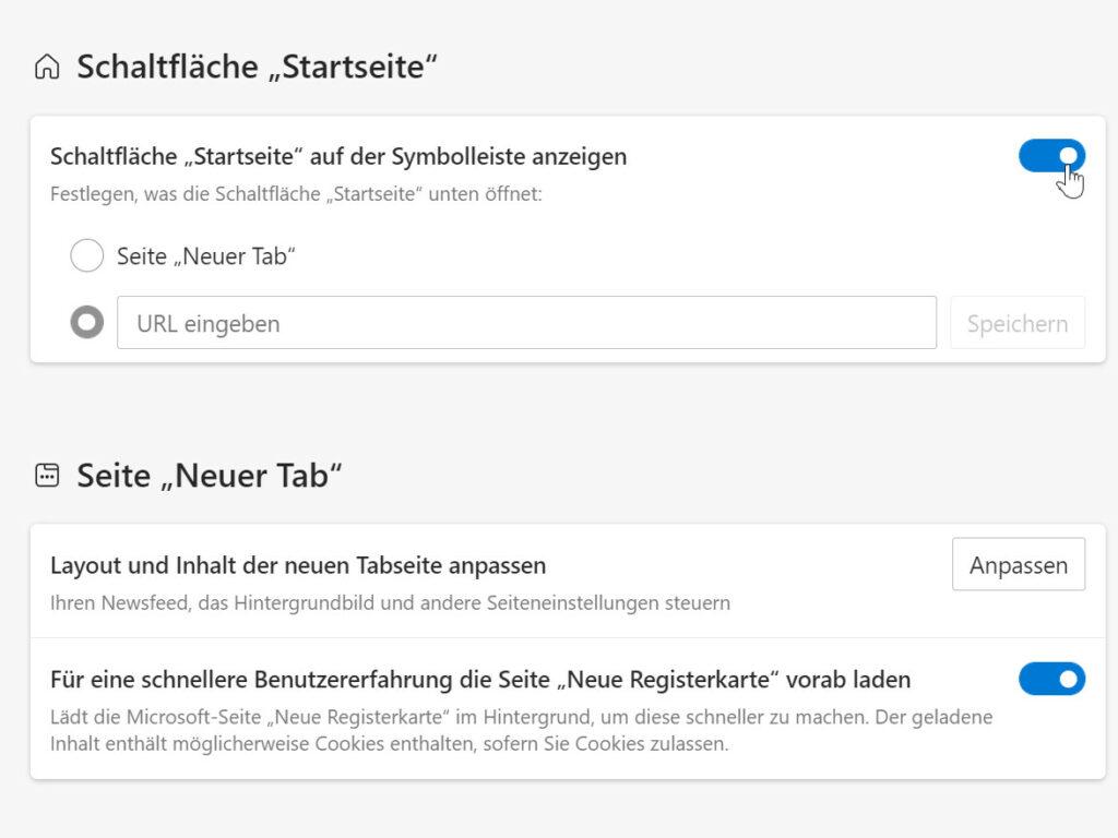 Edge Homepage-Button hinzufügen