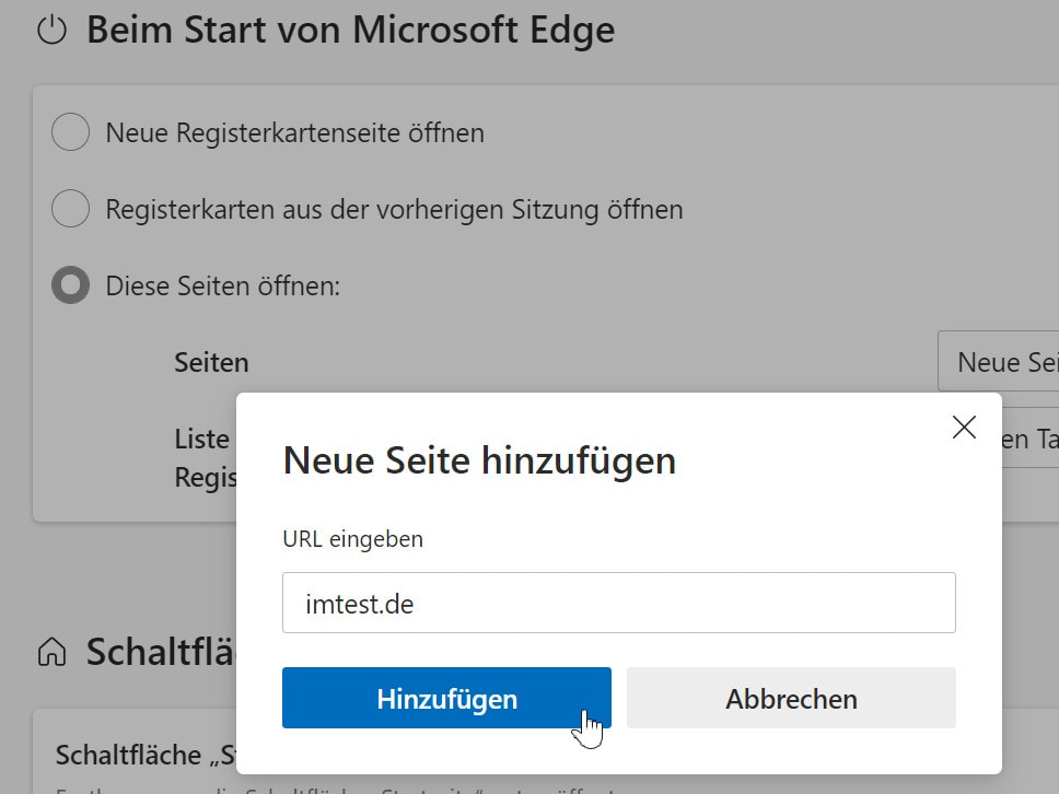 Edge Imtest als Startseite
