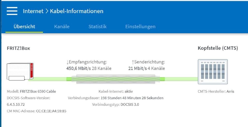 Screenshot Kabelinformationen