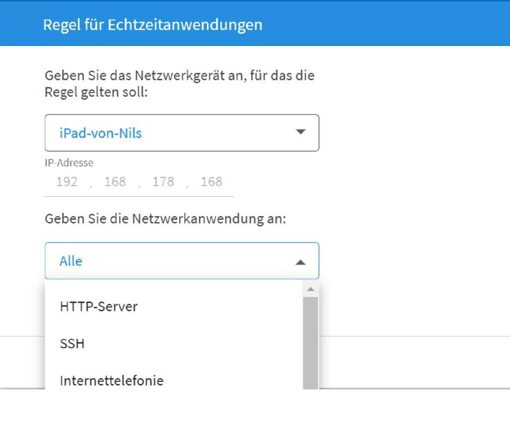 Screenshot Regeln für Nutzung festlegen