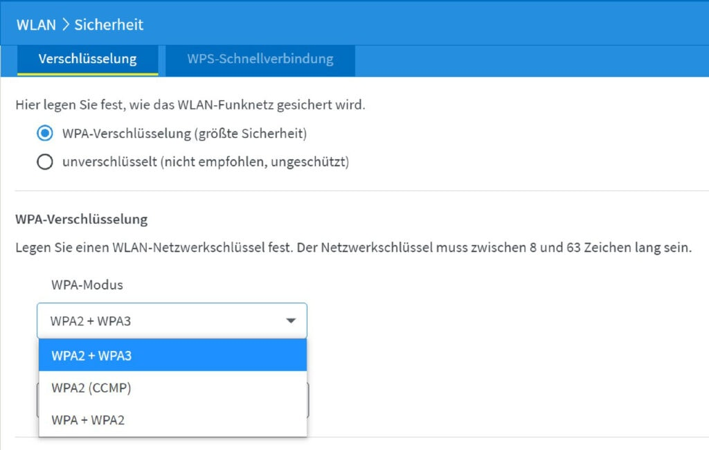 Screenshot WPA-Einstellungen Sicherheit