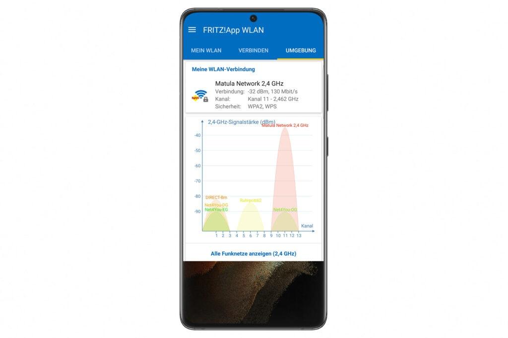 Smartphone zeigt App für FRITZ!Boxmit Grafik