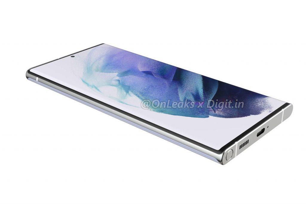 Samsung Galaxy S22 Ultra-Smartphone mit eingesteckten Bedienstift.