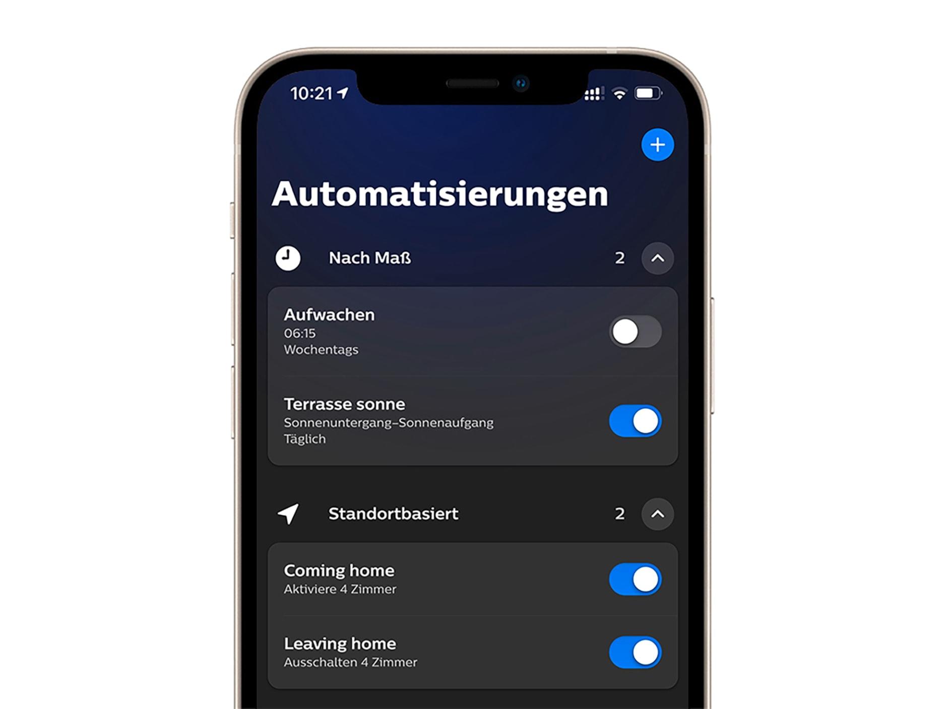 Smartphone zur Hälfte mit Bildschirm, der die App-Einstellungen zum Automatisieren zeigt