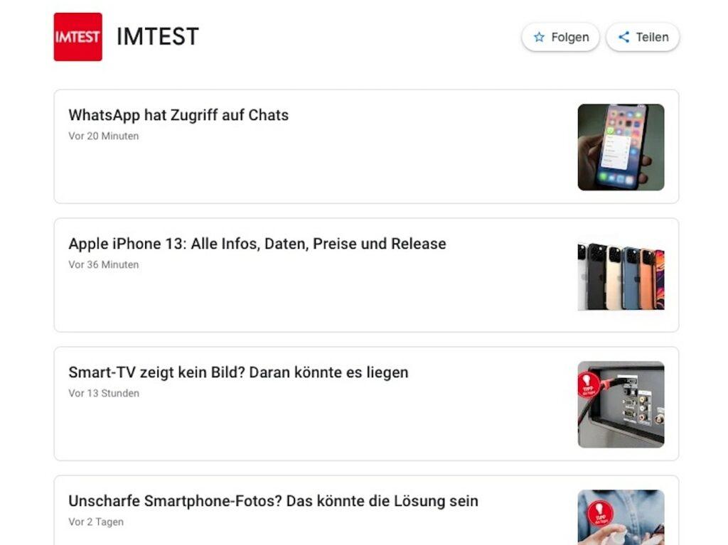 Eine Übersicht von Google News