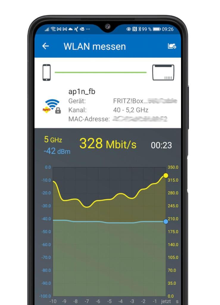 Schwarzes Smartphone mit Diagramm von WLAN-Analyse auf dem Bildschirm, vor weißem Hintergrund