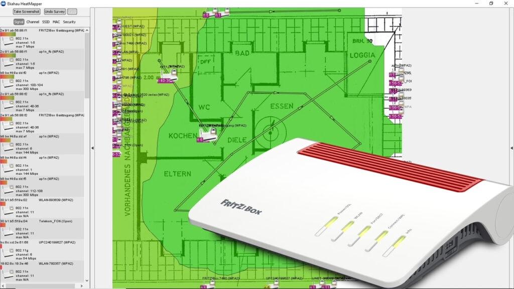 Grau grüne Karte von WLAN-Versorgung mit FritzBox drauf montiert