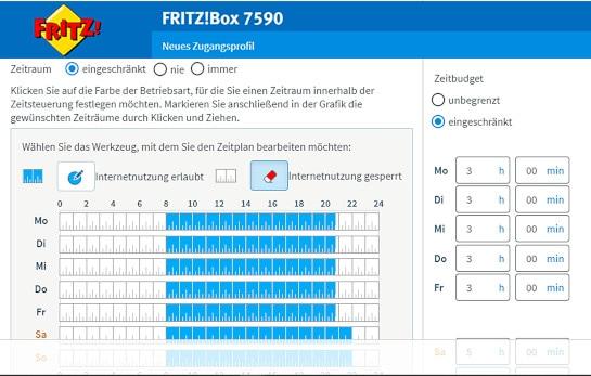 Screenshot der Einstellungen für die Kindersicherung bei der FritzBox