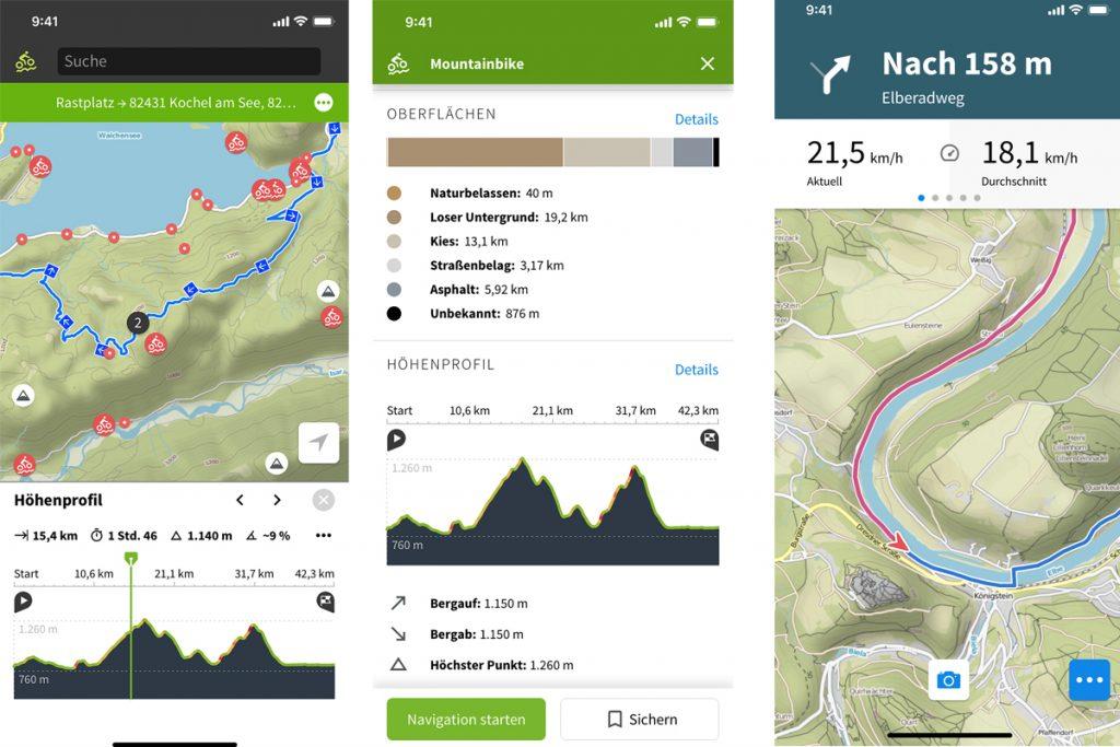 Drei verschiedene Ansichten der Komoot-App