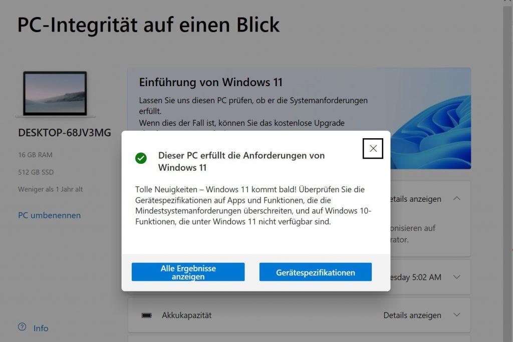 Windows 11 Prüfung