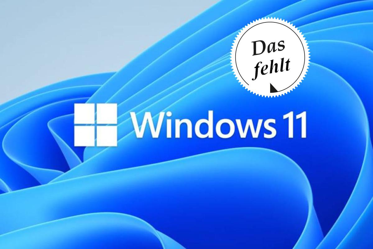 """Blaue Wirbel-Formen mit Windows 11 Logo in der Mitte und weißem Sticker darüber """"Das fehlt"""""""
