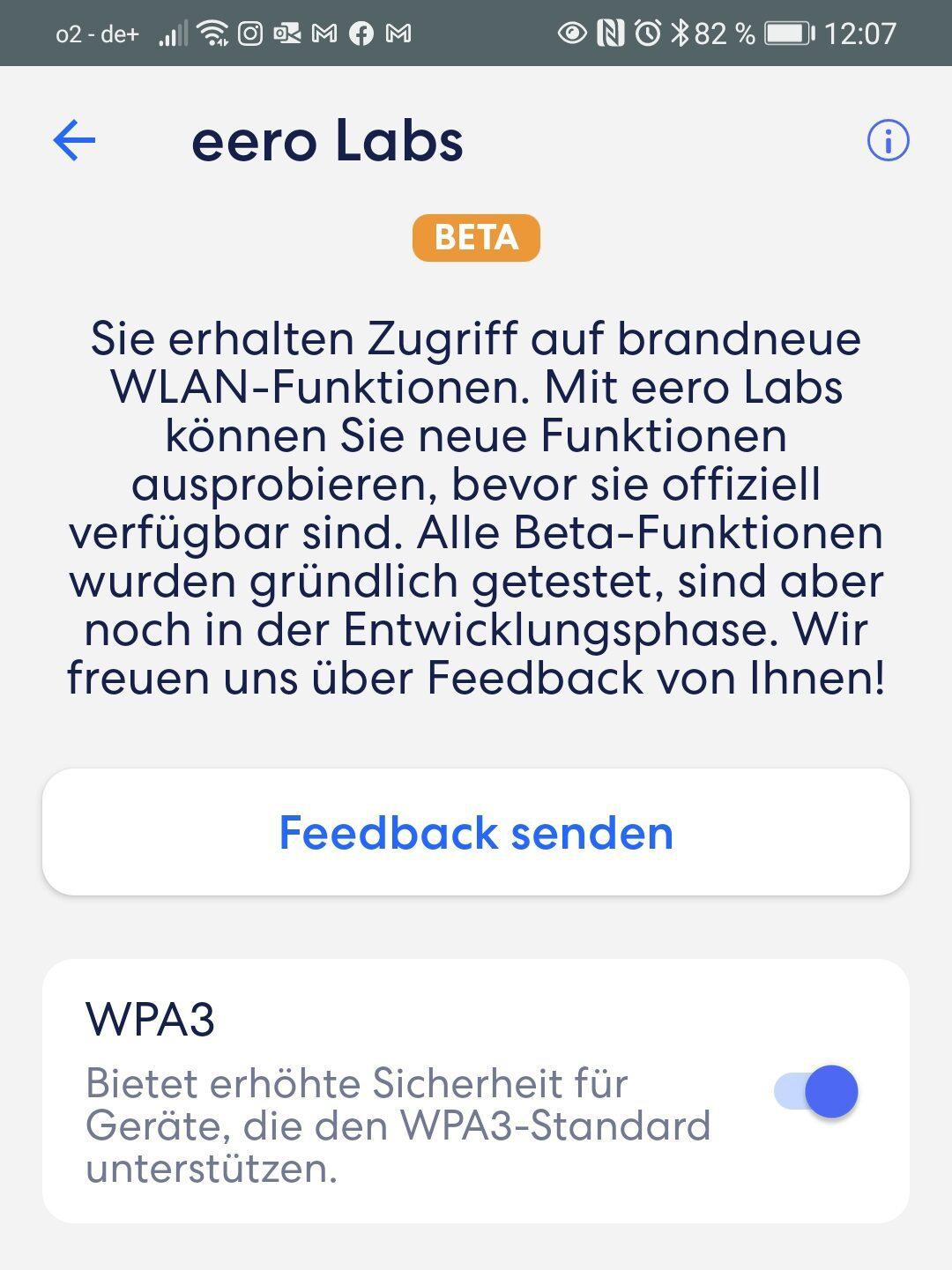 Screenshot geöffnete App mit Einstellungen