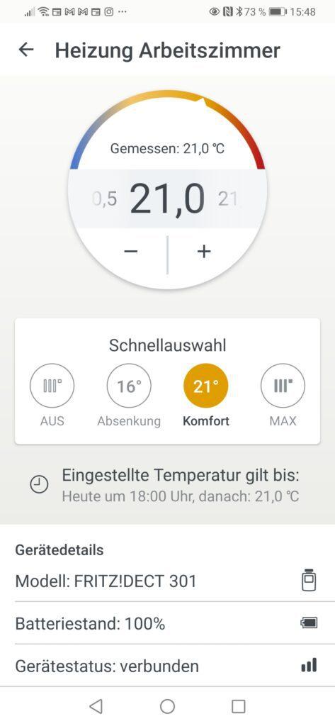Screenshot von geöffneter App die verschiedene Einstellungen für Heizung angezeigt
