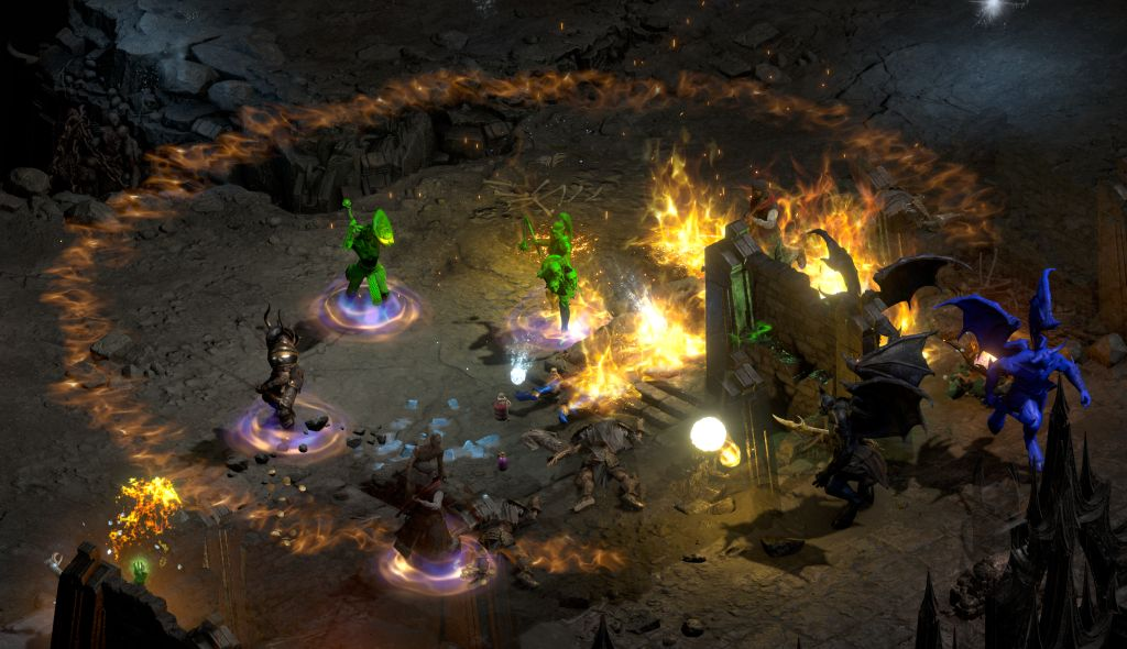 Screenshot mehrere Figuren kämpfen