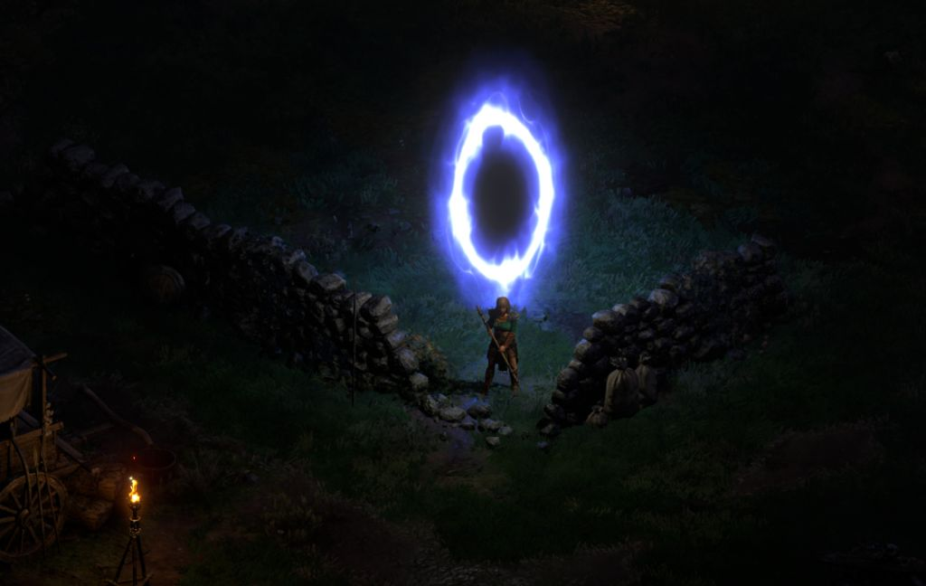 Screenshot blau leuchtendes Portal