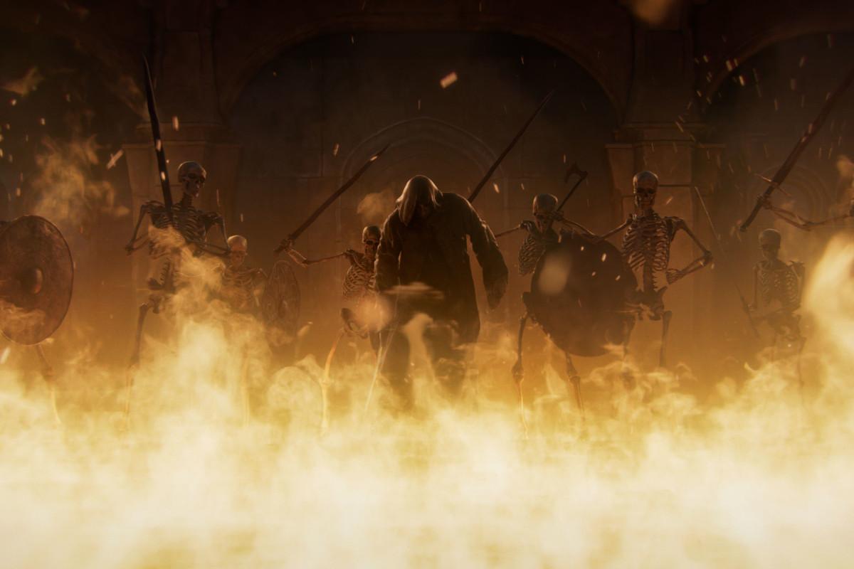 screenshot Spiel Feuer hinter dem schattige Figuren mit Kampfausrüstung stehen