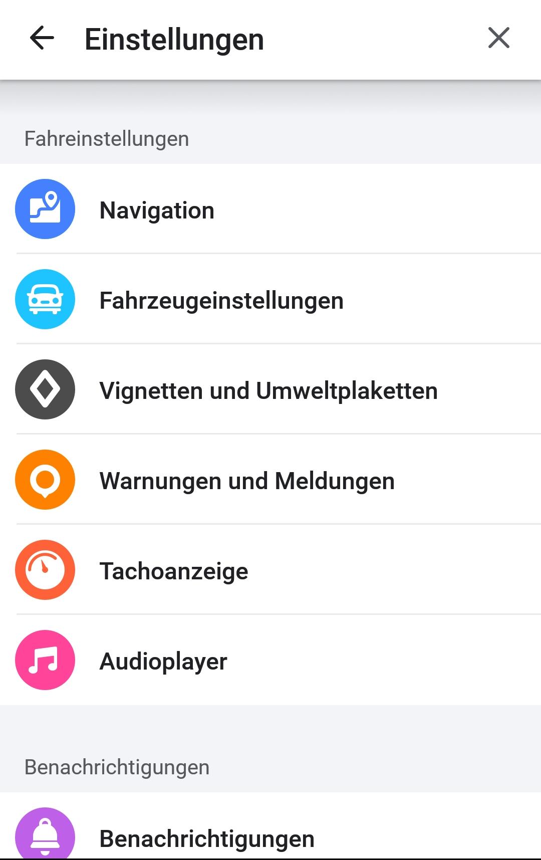 Screenshot Einstellungen mit bunten Icons