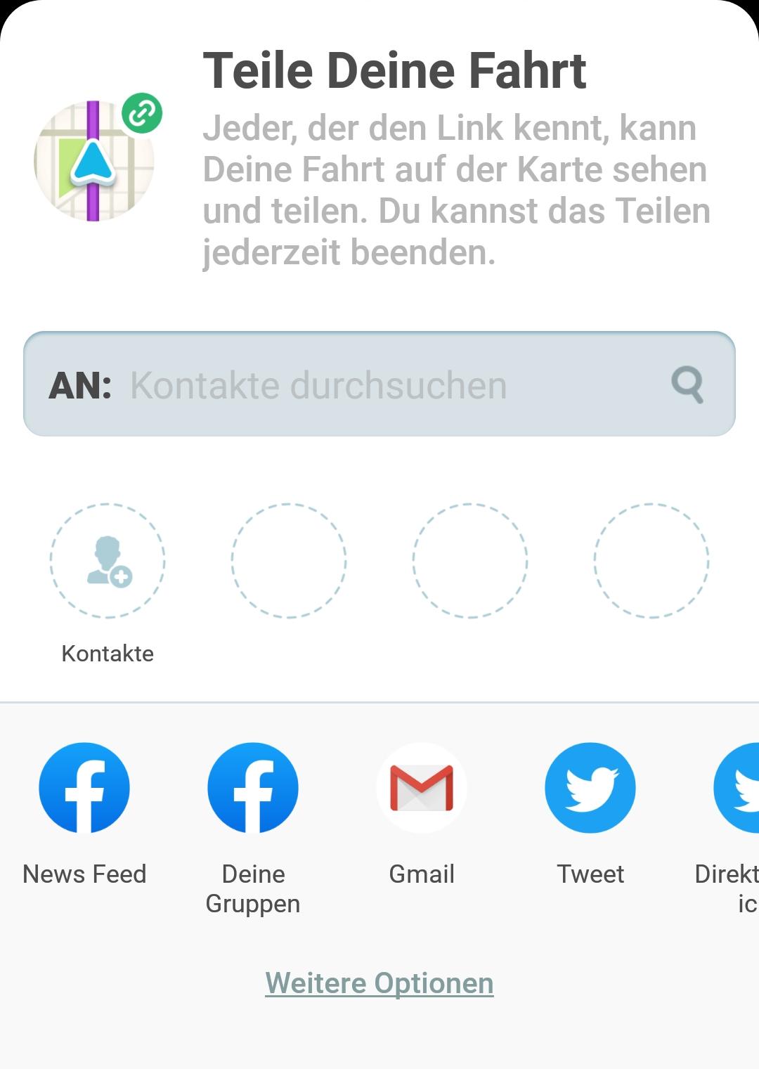 Screenshot Fahrt teilen mit verschiedenen Social Media Icons