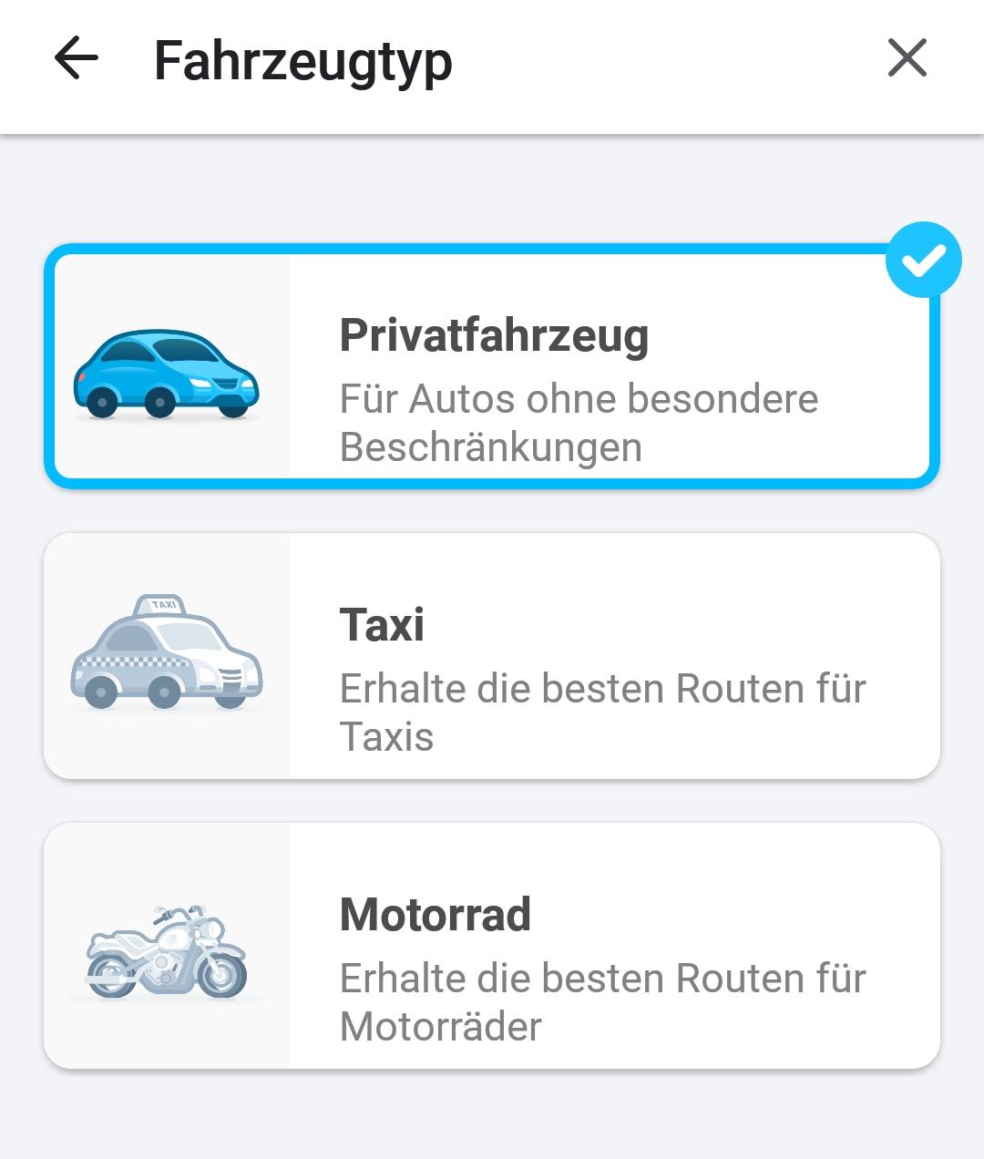 Screenshot Auto-Icons zum Wählen